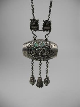 A CHINESE SILVER ENAMELED AMULET AND NECKLACE