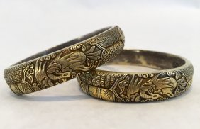 A Pair Of Chinese Silver Gilt Bangles