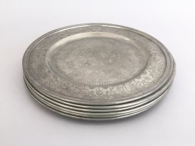 A Set Of Six Chinese Pewter Dishes
