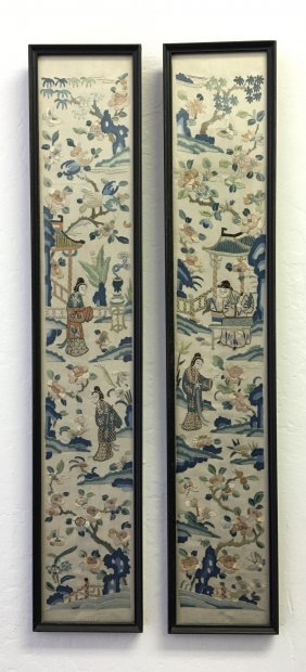 A Pair Of Chinese Embroidered Silk Sleeve Bands