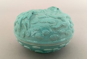 A Chinese Turquoise Porcelain Ink Paste Box With Cover