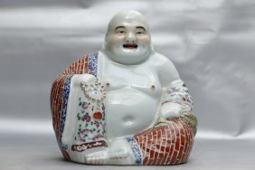 A Chinese Famille Rose Porcelain Figure Of Laughing