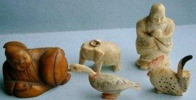 Assorted Hand Carved Bone Figures, Vintage