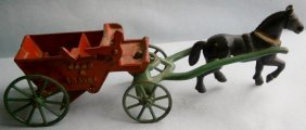 Antique Sand & Gravel Horse Drawn Wagon By Hubley Mfg.