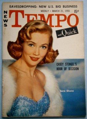March 1955 Tempo Magazine With Sara Shane & Sophia
