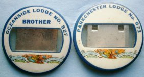 Pair Of Knights Of Pythias Celluloid Name Buttons