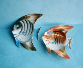 Pair Of Hand Painted Figural Tropical Fish Wall Plaques
