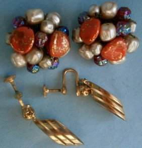 Pair Of Vintage Signed Alice Caviness Earrings