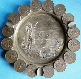 Mexican Coin Ashtray With Aztec Motif