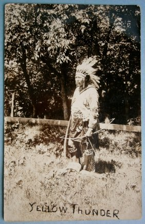 "1920s Real Photo Postcard Of Indian Guide ""yellow"