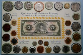 Collection Of 32 Mexican Coins And 5 Peso Note