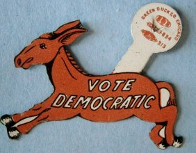 """vote Democratic†Figural Donkey Clip Back"