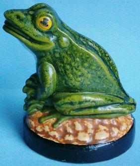 Painted Cast Iron Sitting Frog Figural Door Wedg