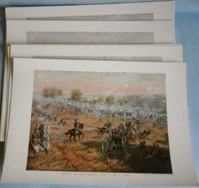 (56) Civil War Prints (battle Of Gettysburg)