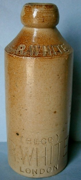 "19th Century ""r. White†Stoneware Soda Bottle"
