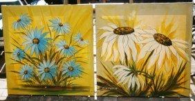 Pair Of Vintage Floral Oil Paintings Signed Alan