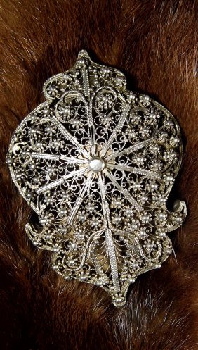 Silver Filigree Arched Tunic / Robe Brooch Fine