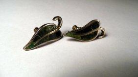 Early Los Castillo Earrings Turguoise Lapis Pepper Leaf