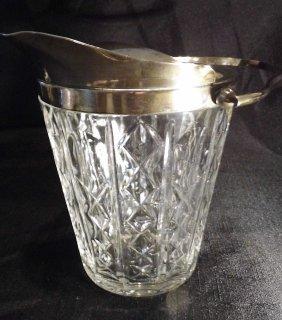 Belgian Vintage Signed Val St Lambert Crystal Bucket