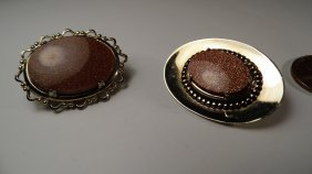 Pair Victorian Revival Goldstone Pins
