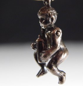 Antique Baby With Bottle Silver Charm Baby Drinks