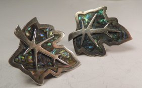 Mexican Sterling Silver Abalone Earrings Leaf Form