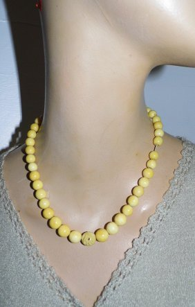 Antique Carved Beads Bone Necklace