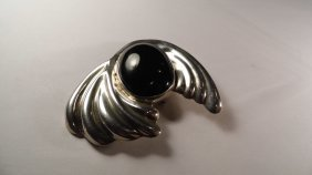 Mexican Sterling Silver Onyx Stylized Face Brooch