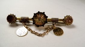 Antique Victorian Rolled Yellow & Rose Gold Bar Pin
