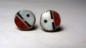 Vintage Pair Hopi Stone Inlay & Silver Stud Earrings