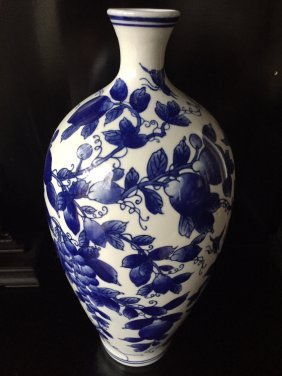 A Chinese Mei Ping Blue And White