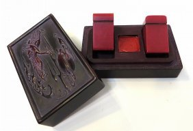 Two Encased Chicken Blood Stone Seals