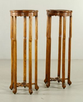 Tall Chinese Teakwood Flower Stands