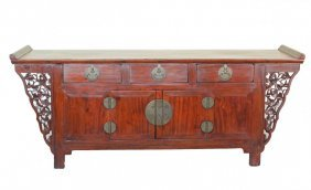 Chinese Hardwood Alter Table With Cabinets