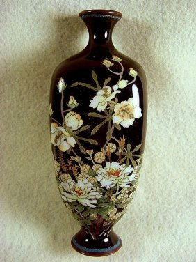 A Japanese Cloisonné Vase – Black Flowers – Meiji
