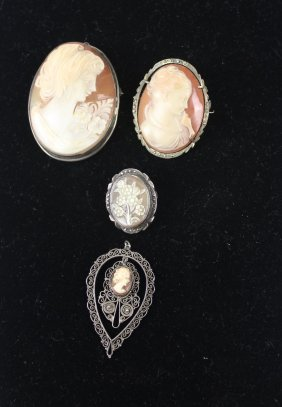 Three Vintage Carved Shell Cameo Brooches, C1950; And A