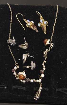 A Silver Garnet, Pearl And Diamond Set Necklace; A Pair