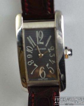 A Ladies 18ct White Gold Cartier Us Tank Wrist Watch,
