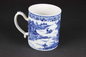 A Chinese Export Porcelain Mug Or Tankard, Painted In