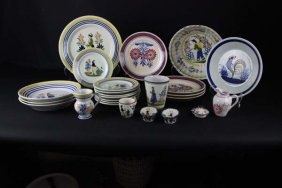 A Quantity Of Quimper Pottery Including A Pair Of