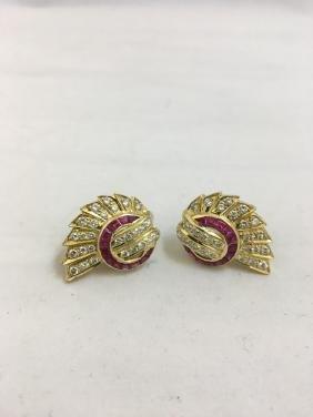 Pair Of Gold Diamond Rubies, Custom Made Earrings