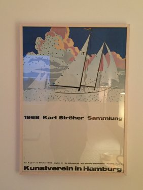 Karl Stroher Exhibition Poster, Hamburg, Sailboats