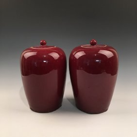 A Pair Oxblood Red Jar