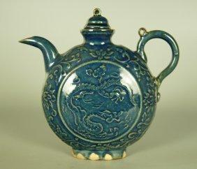 Chinese Ji Blue Glaze Porcelain Flagon
