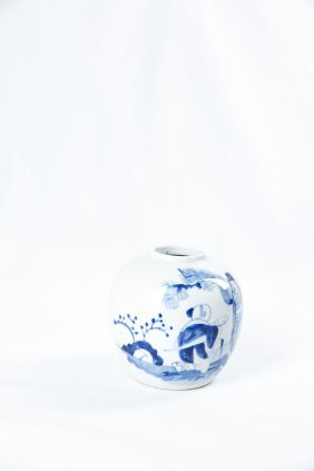 A Chinese Qing Blue And White Porcelain Jar