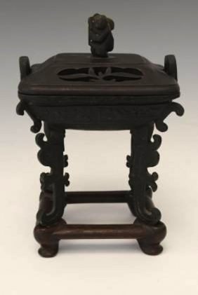 Chinese Ming Style Bronze Censer With Stand