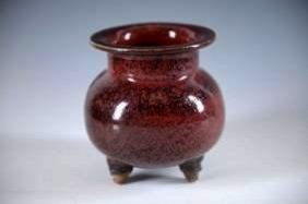 A Chinese Song Jun Style Red-glazed Torpid Censer