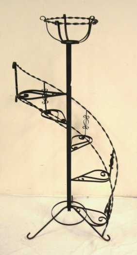 2029 Spiral Plant Stand Wrought Iron Lot 2029