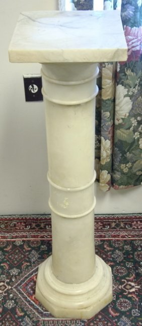 MARBLE PEDESTAL; 41 IN H, 10 7/8 IN SQUARE TOP