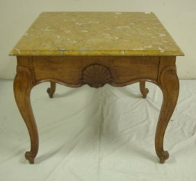 SHELL CARVED TABLE W/YELLOW MARBLE TOP W/OYSTER S